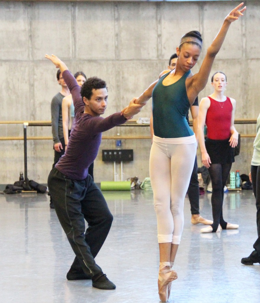 Whitney Huell and Lamin Pereira rehearse Edwaard Liang's Wunderland, which also forms part of the KCB's Spring Program / Photo courtesy KC Ballet