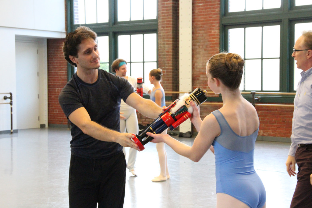 Ryan Jolicoeur-Nye and Sarah Waller work out 'Nutcracker' moves, led by Devon Carney, far right