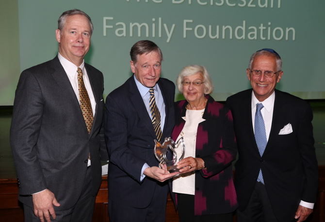 Jonathan Kemper & Crosby Kemper III receive the Civic Service Award from last year's honorees Blanche & Neil Sosland
