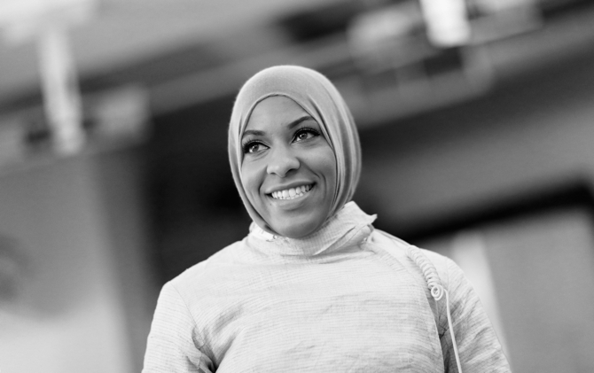 NEW YORK, NY - JULY 07: American Olympic fencer Ibtihaj Muhammad takes a break during a training session at the Fencers Club on July 7, 2016 in New York City. Muhammad will be the first Muslim women to represent the United States while wearing a hijab. (Photo by Ezra Shaw/Getty Images)
