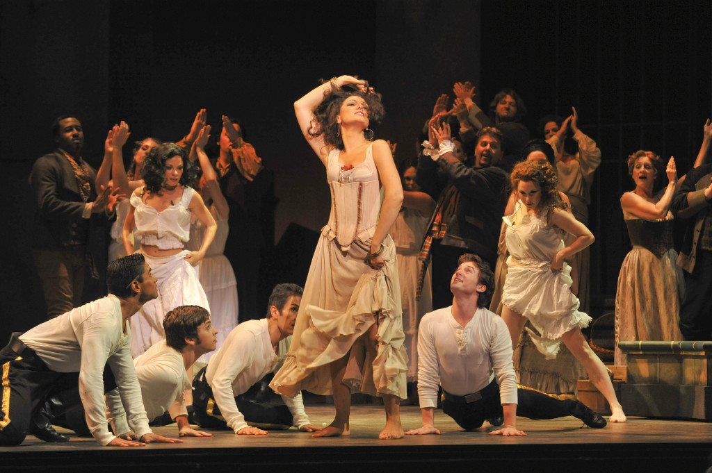 The Lyric Opera's 'Carmen' from 2010, in the old Lyric Theatre, featured R. Keith Brumley's scenic designs, which have been expanded and updated for the current production / Photo by Karen Almond