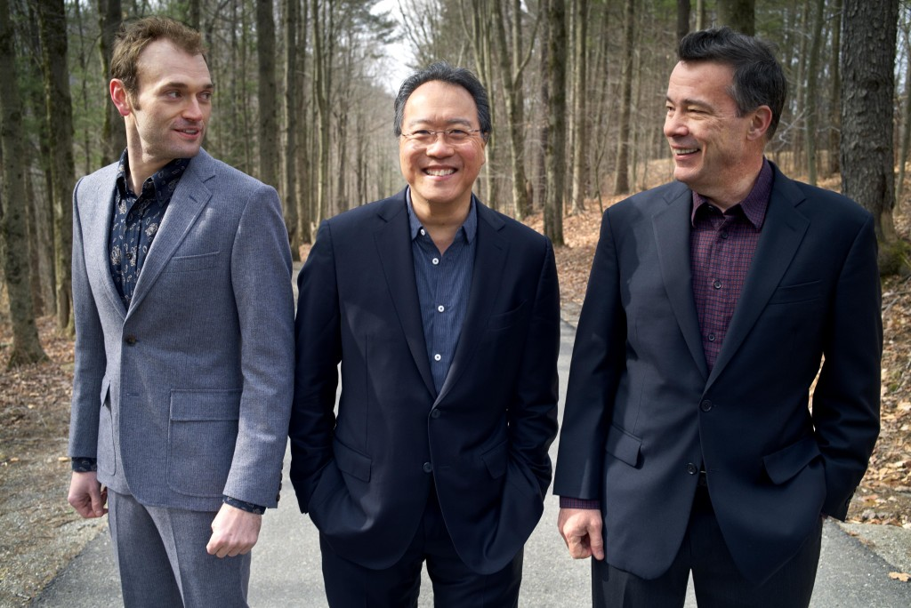 Chris Thile, Yo-Yo Ma and Edgar Meyer / Photo by Danny Clinch, courtesy of HJ Series